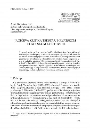 Jagićeva kritika teksta u hrvatskom i europskom kontekstu : Filologija : časopis Razreda za filološke znanosti Hrvatske akademije znanosti i umjetnosti