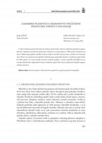 Zadarsko plemstvo i građanstvo početkom francuske uprave u Dalmaciji : Radovi Zavoda za povijesne znanosti HAZU u Zadru