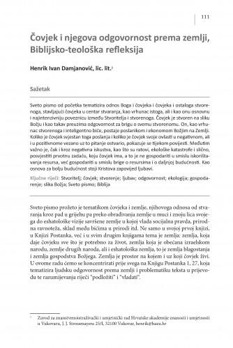 Čovjek i njegova odgovornost prema zemlji, Biblijsko-teološka refleksija : Posebna izdanja / Hrvatska akademija znanosti i umjetnosti, Centar za znanstveni rad u Vinkovcima