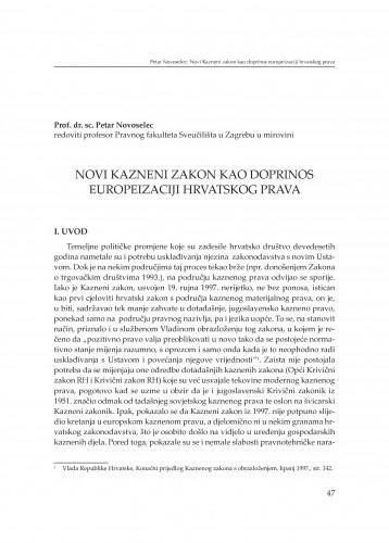 Novi kazneni zakon kao doprinos europeizaciji hrvatskog prava : [izlaganje] : Modernizacija prava