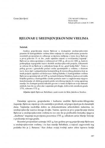 Bjelovar u srednjovjekovnim vrelima : Radovi Zavoda za znanstvenoistraživački i umjetnički rad u Bjelovaru