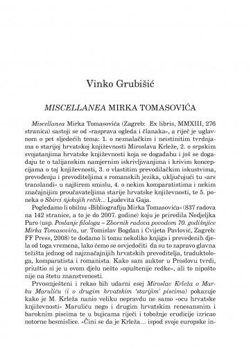 Miscellanea Mirka Tomasovića : Forum : mjesečnik Razreda za književnost Hrvatske akademije znanosti i umjetnosti.