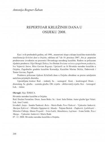 Repertoar Krležinih dana u Osijeku 2008. : [prilog] : Krležini dani u Osijeku