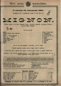 Mignon lirična opera u tri čina / glazbio Ambroise Thomas