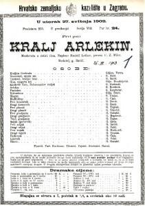 Kralj Arlekin : maskerata u četiri čina / napisao Rudolf Lothar