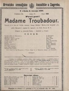 Madame Troubadour opereta u tri čina