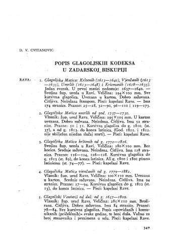 Popis glagoljskih kodeksa u Zadarskoj biskupiji / Vladislav Cvitanović
