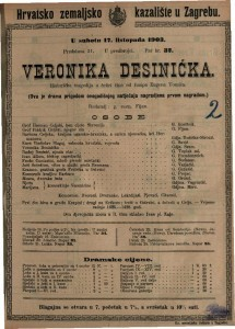 Veronika Desinićka : historička tragedija u četiri čina / od Josipa Eugena Tomića