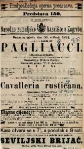 Pagliacci (Komedijaši) Drama u 2 čina sa prologom / Spjevao i uglazbio R. Leocavallo.