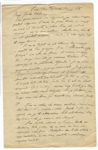 Pismo Janku Leskovaru