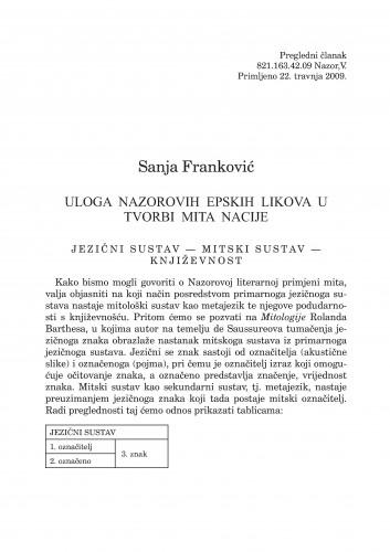 Uloga Nazorovih epskih likova u tvorbi mita nacije : Forum : mjesečnik Razreda za književnost Hrvatske akademije znanosti i umjetnosti.