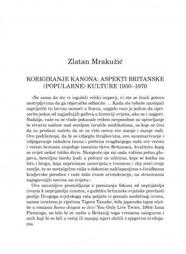 Korigiranje kanona: aspekti britanske (popularne) kulture 1950-1970 : Forum : mjesečnik Razreda za književnost Hrvatske akademije znanosti i umjetnosti.