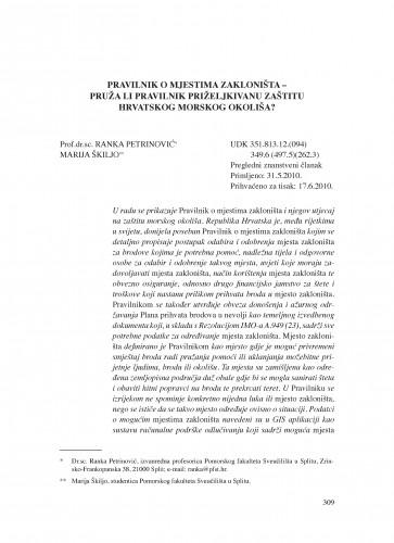 Pravilnik o mjestima zakloništa - pruža li Pravilnik priželjkivanu zaštitu hrvatskog morskog okoliša? : Poredbeno pomorsko pravo