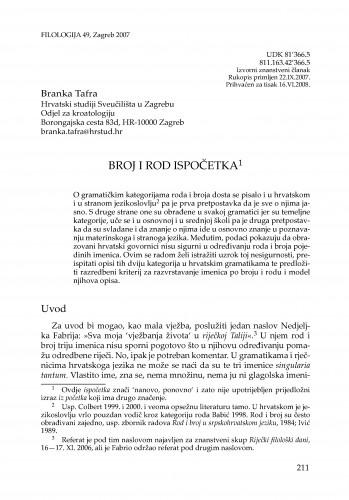 Broj i rod ispočetka : Filologija : časopis Razreda za filološke znanosti Hrvatske akademije znanosti i umjetnosti