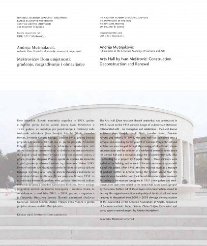 Meštrovićev Dom umjetnosti: građenje, razgrađivanje i obnavljanje : Art Bulletin