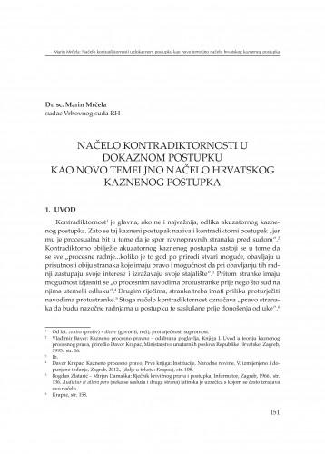 Načelo kontradiktornosti u dokaznom postupku kao novo temeljno načelo hrvatskog kaznenog postupka : [izlaganje] : Modernizacija prava