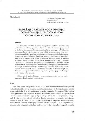 Sadržaji građanskoga odgoja i obrazovanja u nacionalnom okvirnom kurikulumu : Radovi Zavoda za znanstveni i umjetnički rad u Požegi