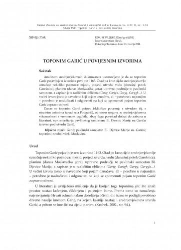 Toponim Garić u povijesnim izvorima : Radovi Zavoda za znanstvenoistraživački i umjetnički rad u Bjelovaru
