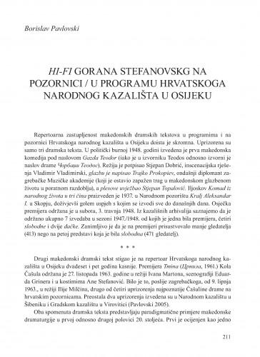 HI-FI Gorana Stefanovskog na pozornici [i] u programu Hrvatskoga narodnog kazališta u Osijeku : Krležini dani u Osijeku