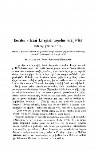Dodatci k fauni kornjašâ trojedne kraljevine izdanoj godine 1879