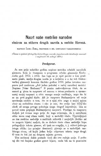 Nacrt naše metrike narodne : obzirom na stihove drugih naroda a osobito Slovena : RAD
