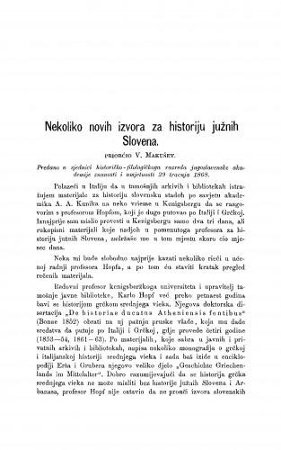 Nekoliko novih izvora za historiju južnih Slovena : RAD