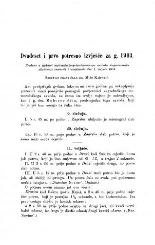 Dvadeset i prvo potresno izvješće za god. 1903