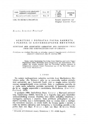 Neritide i popratna fauna sarmata i panona iz sjeverozapadne Hrvatske