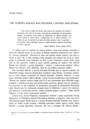 Lik Alberta Bazale kao filozofa i javnog djelatnika