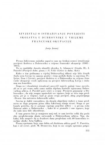 Izvještaj o istraživanju povijesti školstva u Dubrovniku u vrijeme francuske okupacije / J. Jernej
