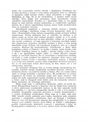 Etnografska građa Istre u Etnografskom muzeju u Zagrebu / M. Gušić
