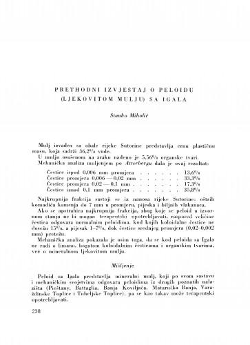 Prethodni izvještaj o peloidu (ljekovitom mulju) sa Igala / S. Miholić