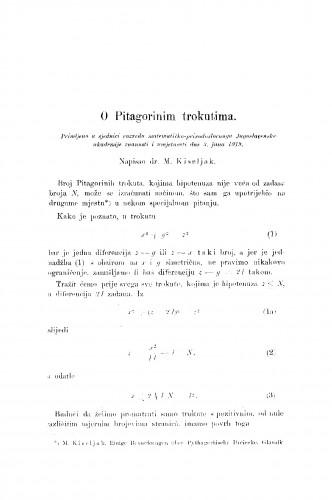 O Pitagorinim trokutima