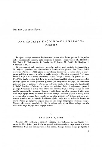 Fra Andrija Kačić Miošić i narodna pjesma / J. Šetka