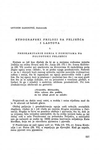 Etnografski prilozi s Pelješca i Lastova / A. Zaninović