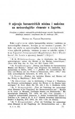 O utjecaju barometričkih minima i maksima na meteorologičke elemente u Zagrebu