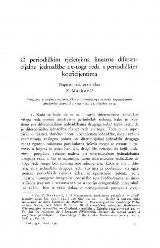 O periodičkim rješenjima linearne diferencijalne jednadžbe 2 n-toga reda s periodičkim koeficijentima