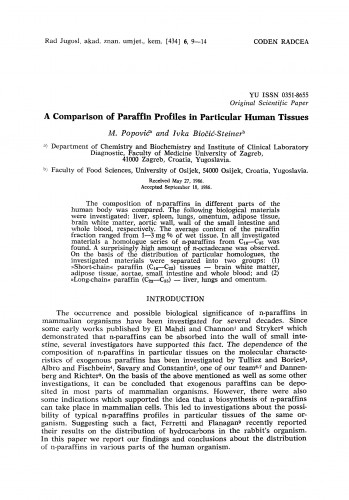 A comparison of paraffin profiles in particular human tissues