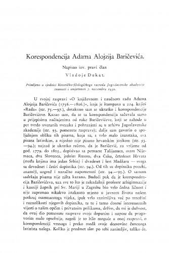 Korespondencija Adama Alojzija Baričevića