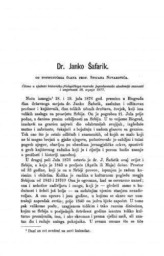 Dr. Janko Šafarik : [nekrolog] : RAD