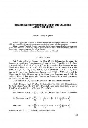 Berührzykelketten in endlichen Miquelschen Minkowski-Ebenen