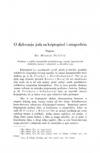 O djelovanju joda na kriptopirol i etioporfirin
