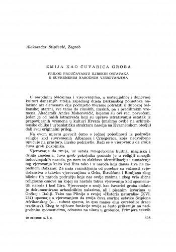 Zmija kao čuvarica grobova : prilog proučavanju ilirskih ostataka u suvremenim narodnim vjerovanjima / A. Stipčević