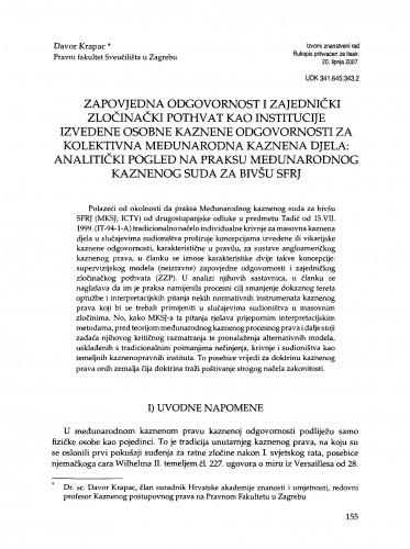 Zapovjedna odgovornost i zajednički zločinački pothvat kao institucije izvedene osobne kaznene odgovornosti za kolektivna međunarodna kaznena djela: analitički pogled na praksu Međunarodnog kaznenog suda za bivšu SFRJ