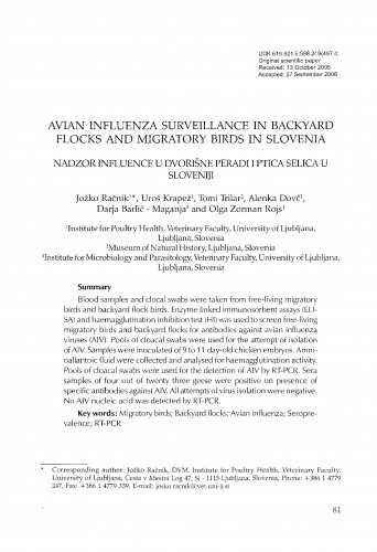 Avian influenza surveillance in backyard flocks and migratory birds in Slovenia