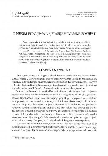 O nekim pitanjima najstarije hrvatske povijesti