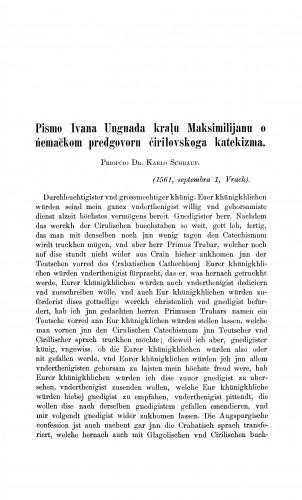 Pismo Ivana Ungnada kralu Maksimilijanu о  nemačkom predgovoru ćirilovskoga katekizma. : Građa za povijest književnosti hrvatske