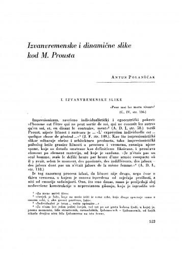 Izvanvremenske i dinamične slike kod M. Prousta