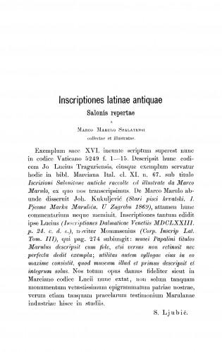 Incriptiones latinae antiquae Salonis repertae a Marco Marulo Spalatensi collectae et illustratae. Edidit S. Ljubić : RAD