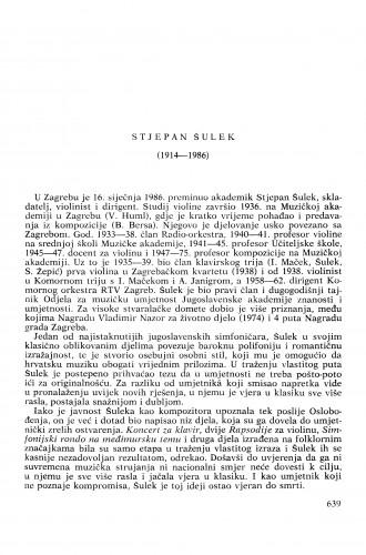 Stjepan Šulek (1914-1986) : [nekrolozi] / Krešimir Kovačević